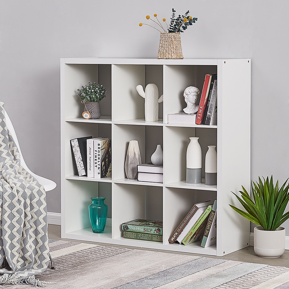 Panana 6 Grids Bookshelf Simple Particleboard Storage Rack Book Organizer Display Shelf For Livingroom Bedroom