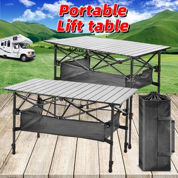 Piknik na świeżym powietrzu składany stół przenośny składany stół składany stół stół na kemping Camping stół kuchenny składany stół kempingowy stół podnoszony Ou tanie i dobre opinie NoEnName_Null CN (pochodzenie) Outdoor multifunctional folding table 50kg-80kg L55cmxW18cmxH55-70cm L55cmxW18cmxH22cm 4 7kg