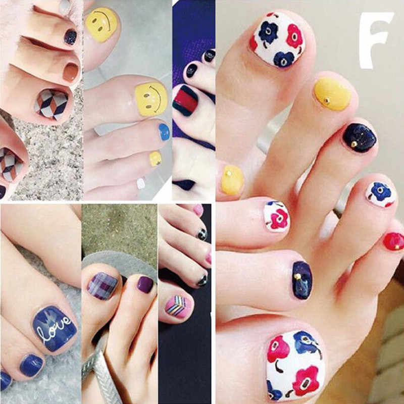 Toe Nail Sticker Waterproof Fashion Toe Nail Wraps Art Nails Adhesive Foil Stickers Manicure Decals Pattern Decorations Patch