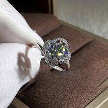 RongXing anillos de flores de circonita redonda blanca de lujo para Mujeres Hombres 925 anillo de compromiso de piedra CZ lleno de plata