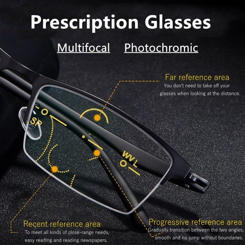 Фотохромные очки для чтения, прогрессивные, Мультифокальные, Tr90, диоптрические, очки по рецепту, индивидуальный, анти-синий светильник + 1,75 + ...