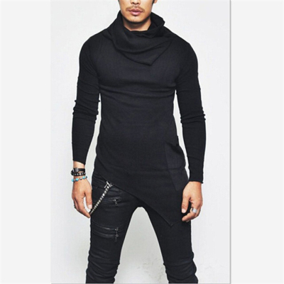 Unbalance Hem Pocket, толстовки с длинным рукавом, мужская спортивная одежда, баскетбольные майки, осенние мужские водолазки, толстовка, топы, 5XL - Цвет: black