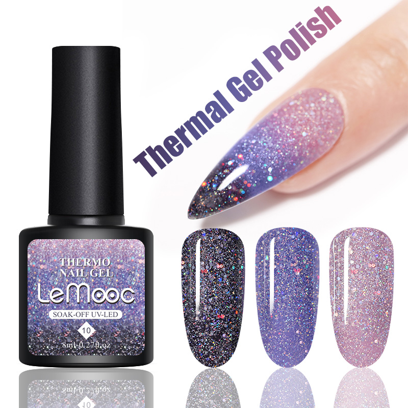 LEMOOC Gel termico Soak Off temperatura cambia colore luccichio Glitter vernice lacca paillettes lucide smalti per unghie