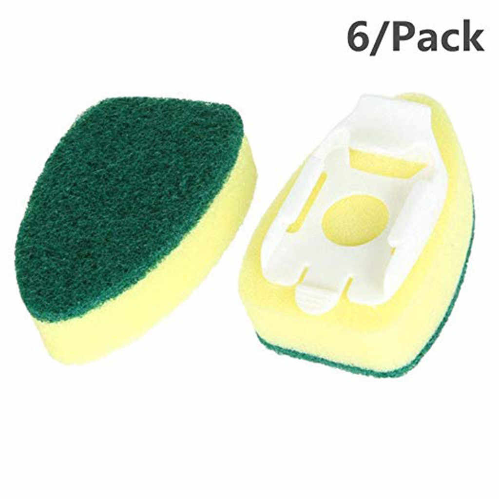 1 Dish Wands and 6 Refill Replacement Heads Heavy Duty Dish Wand Sponge for Kitchen Sink Cleaning Brush