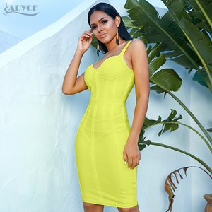 Image 5 - ADYCE 2020 New Summer Women Bodycon Bandage Dress Sexy Spaghetti Strap Sleeveless Club Dress Midi Celebrity Evening Party Dress