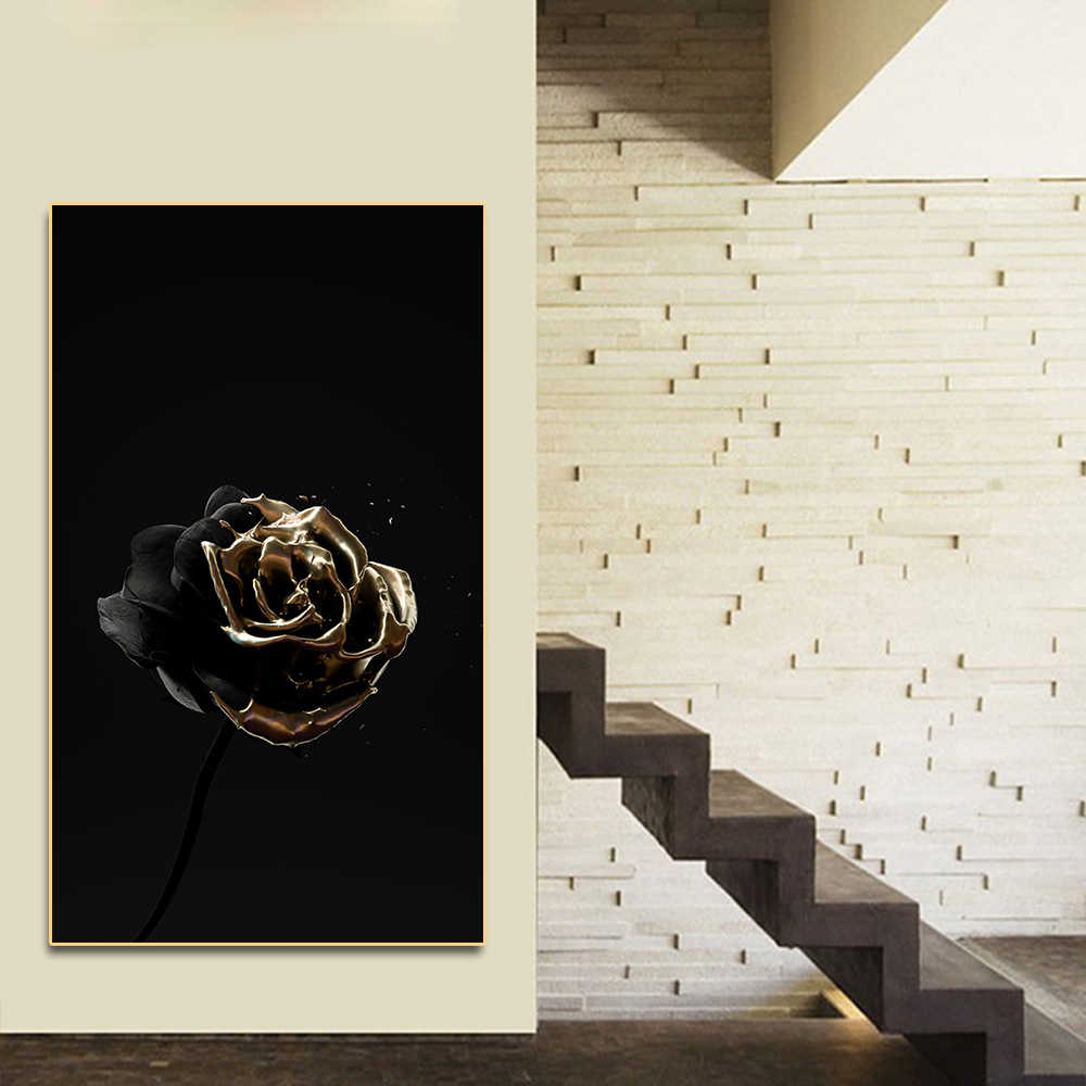 Poster White Gold Flower Skull Wall Art Canvas Painting Posters on The Wall Decor for Home Living Room Decoration Picture