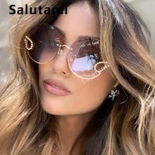 2020 New Women Elegant Brand Sunglasses Alloy Rimless Crystal Decoration Sun Gla