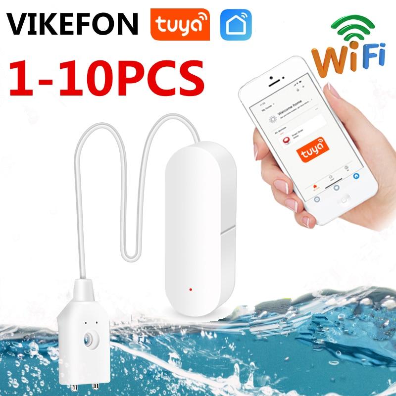 Домашняя сигнализация Tuya 1-10 шт., Wi-Fi датчик утечки воды с оповещением о переполнении, с поддержкой приложения Tuyasmart Smart Life