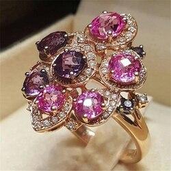 14K różowe złoto czysty ciemnoczerwony kamień pierścień dla kobiet Anillos De czerwony bague Bizuteria kamień anillos biżuteria 14K pierścionek z różowego złota
