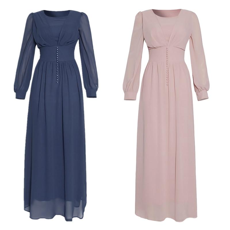 Muslim Hijab Dress 2020 Women Solid Button Chiffon Eid Mubarak Party Evening Long Dress Arabic Turkish