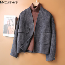 Plaid Coat Wool Mozuleva Double-Sided Women Female Single-Breasted Casual Hand-Stitched