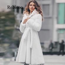 New Womens White Genuine Real Rex Rabbit Fur long Winter Hoo