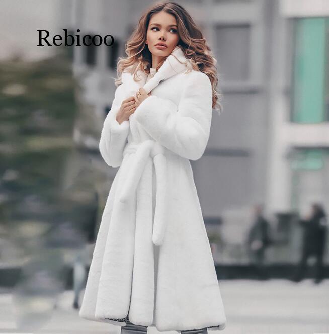 Nouveau femmes blanc véritable Rex fourrure de lapin longue hiver manteau à capuche pour la mode féminine de luxe veste de fourrure naturelle