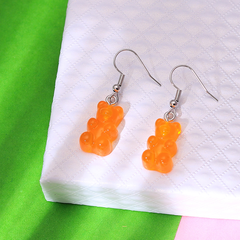 H3f3c7ba87f9a4a0b82a6cf6c84b5cc73n - 1 Pair Creative Cute Mini Gummy Bear Earrings Minimalism Cartoon Design Female Ear Hooks Danglers Jewelry Gift