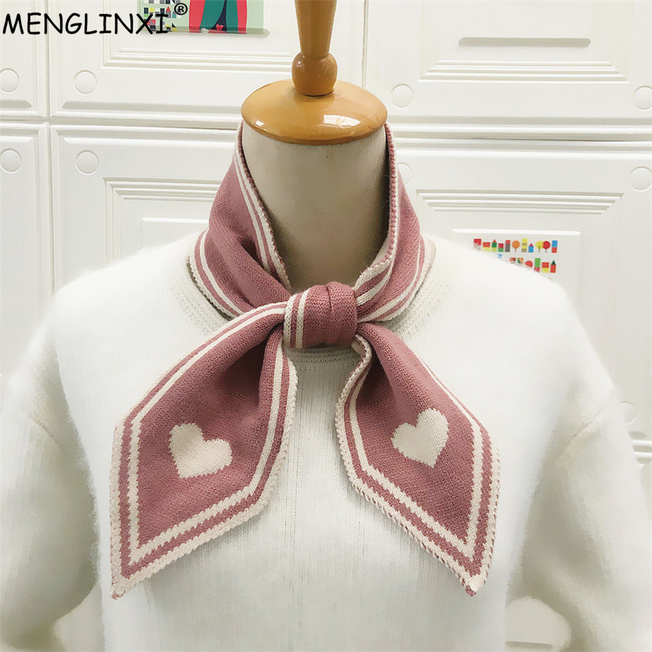 Heart Print Knitted Brand Scarf 2020 New Winter Scarf Sharp Angle Women Scarf Long Skinny Small Scarf Female Neckerchief Scarves