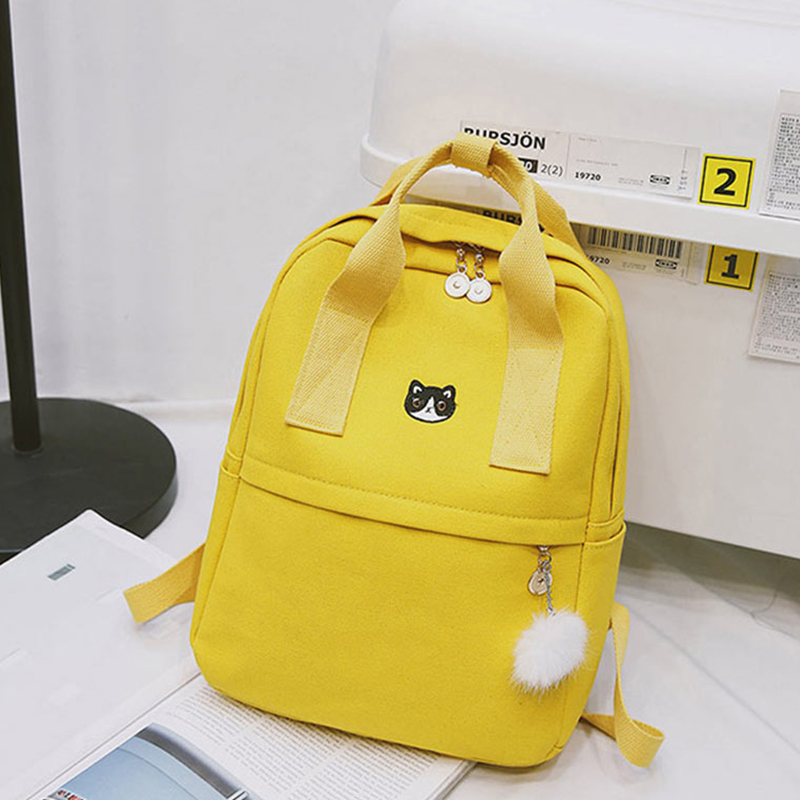 Women Canvas Backpacks Large Capacity Preppy Teenagers Girls School Bag Ladies Fashion Cat Hairball Pendant Travel Shoulder Bags
