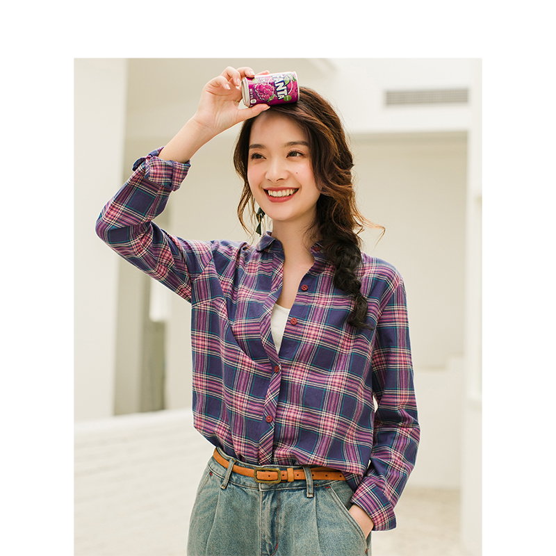 Image 2 - INMAN Women's Autumn Florals Plaid all match long sleeves Shirt Tops-in Blouses & Shirts from Women's Clothing