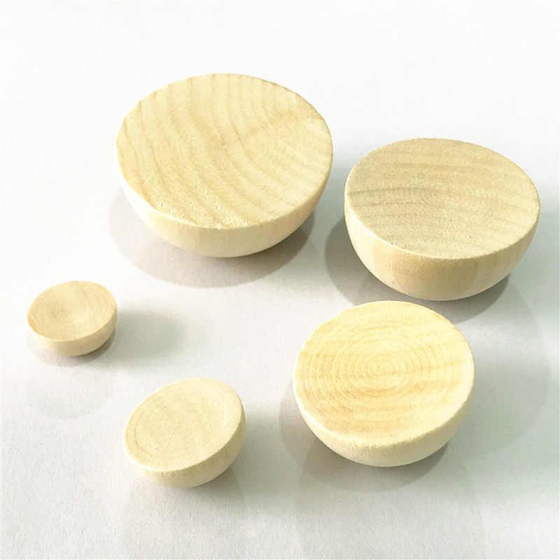 Natural Half Wooden Balls Decration Split Beads for Diy Projects Crafts Kids Toy 15mm