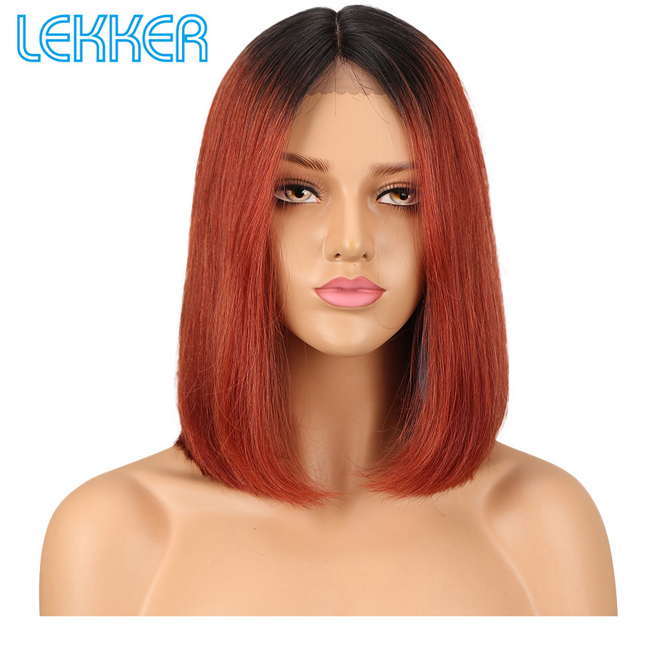 Lekker Wig Brazilian Lace Front Human Hair Wig TT1B Caramel Ombre Color Straight Human Hair Wigs For Black Women Short Bob Wigs
