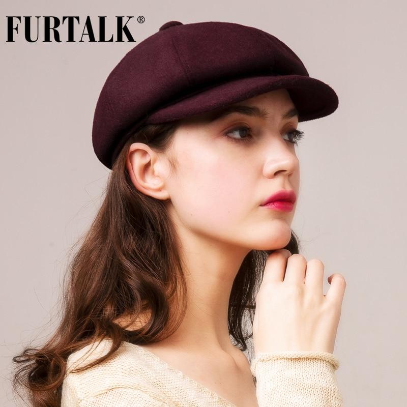 FURTALK 100% Wool Hat Winter Women Octagonal Cap Women Newsboy Caps for  Girls Wool Black Beret Hat for Female Korean Winter Hats|Men's Newsboy Caps|  - AliExpress