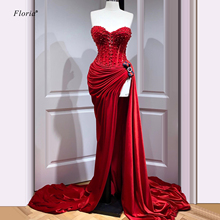 Newest Turkish Couture Red Prom Dresses Long Mermaid Straple