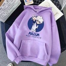 Killua hunter x hunter hoodies cor sólida com capuz feminino impressão dos desenhos animados camisola de manga longa outono casual com capuz streetwear