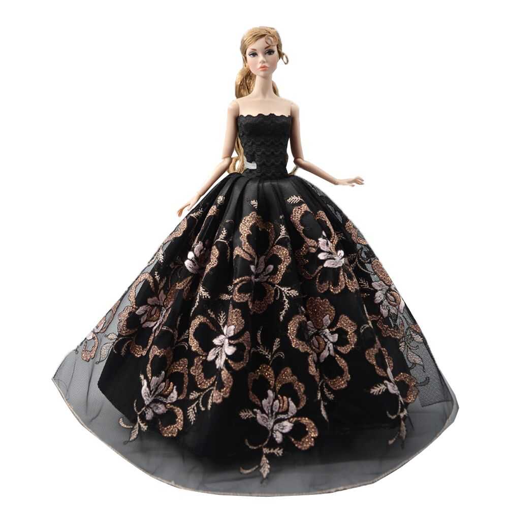 NK  2020 1x Doll Wedding Dress Princess Fashion Party Black Dress  For Barbie Doll Accessories  DIY Toys Baby Gift  51F 3X
