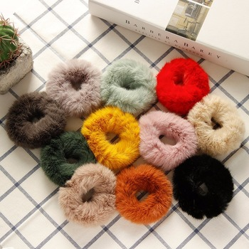 11 Colors Available Fur Rabbit Hair Scrunchies 8.5 cm Women Girls Soft Elastic Hair Bands Ponytail Holder Hair Accessories image