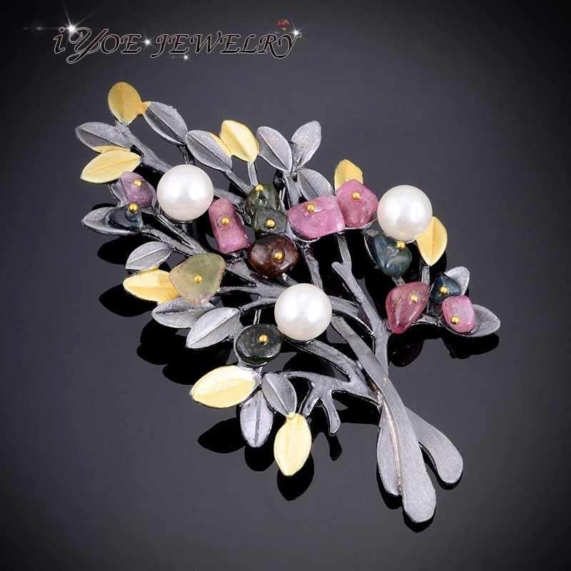 Iyoe Terbaru Gaya Vintage Bros Pin Pengaman untuk Wanita Kasual Pesta Hitam Pohon Mulitcolor Batu Alam Bros Perhiasan