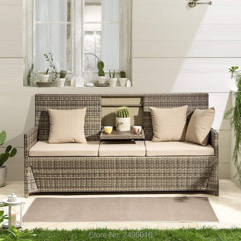 1 Piece Outdoor Garden Lawn Sofa Furniture With Table ,Space Saving Rattan Wicker Patio Furniture Multifunction Creative
