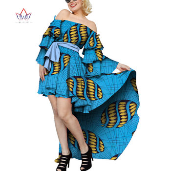 Customize African Print Multi-layer Sleeve Dress for Women Bazin Riche African Clothing Off Shoulder Party African Dress WY4555