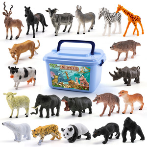 44pcs Realistic Zoo Animal Model Forest Farm Animal Toys Wild Jungle Tiger Panda Sheep for Kids Children Play Educational Toys