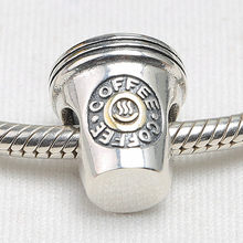 Authentic S925 Sterling Silver DIY Jewelry Coffee Charms fit Lady Bracelet Bangle(China)