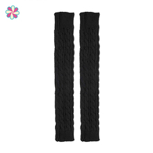 Arm-Sleeves Warm Women Fingerless Solid W118 Knitted Casual