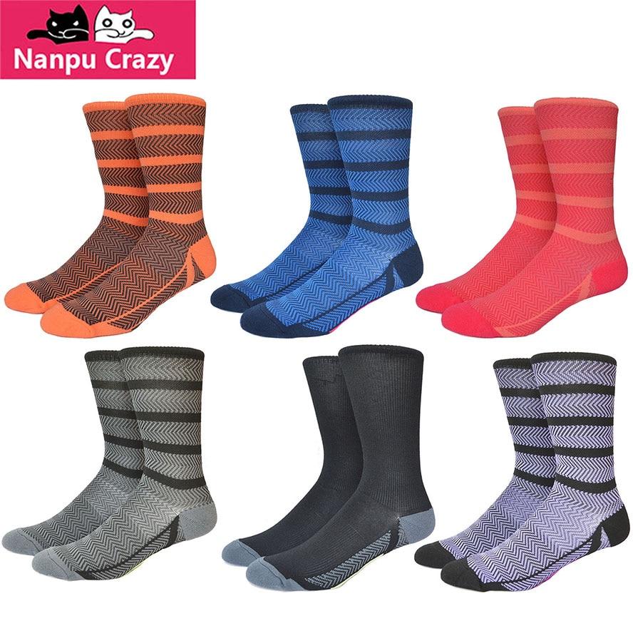 Socks Striped Colorful Sock Running Compression Socks Men Nylon Calf Compress Skate Sport Sock Outdoor Sport Hiking Cycling Sox