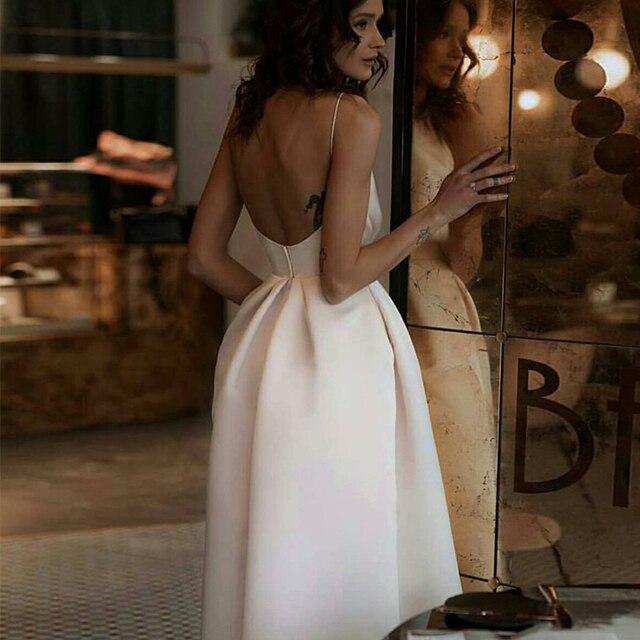 Ivory short plus size satin prom party evening dresses vestido de noiva sereia gown robe de soiree frock 2020 pleat spaghetti 4