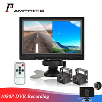 AMPrime 7 AHD 1080P Screen Split Monitor + Car Rearview Backup Camera Reversing System Night Vision for Truck Bus DVR Recording