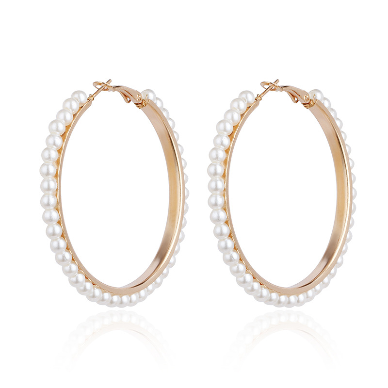 Europe and the United States 2019 new hot sale geometric exaggerated pearl big circle pendant women's earrings fashion jewelry 5