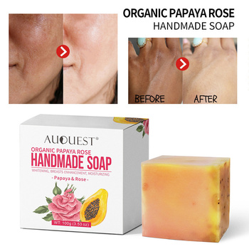 Natural AuQuest Organic Papaya Rose Handmade Soap Skin Firming Vitamin Whitening Moisturizing Body Face Cleanser Skin Care TSLM2 rose soap 100% natural handmade 120g hair skin beauty whitening moisturizing cleaner antibacterial acne treatment