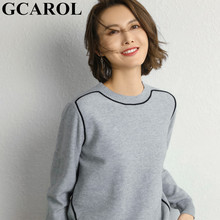 GCAROL O Neck White Line Spliced Women Sweater 30% Wool Cashmere Warm Jumper Autumn Winter Casual Render Knit Pullover(China)