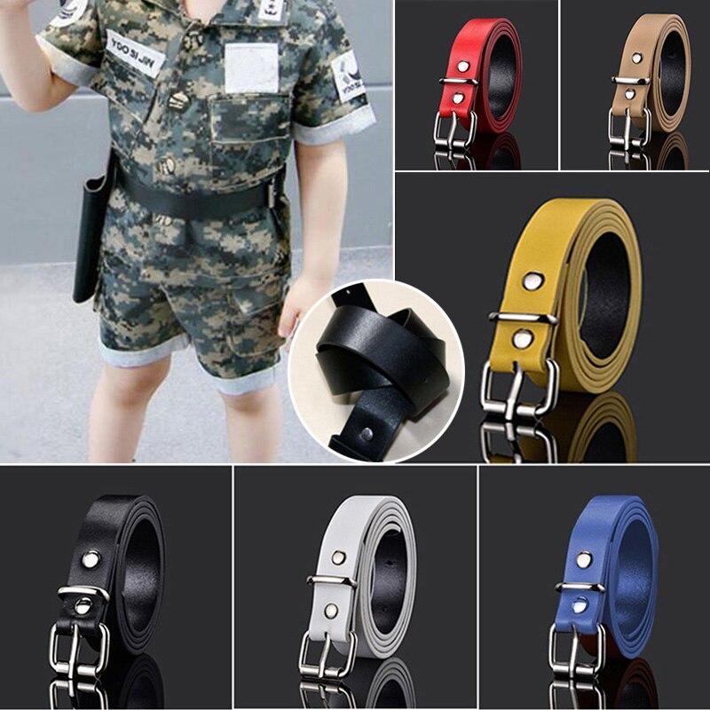 Crianças cintos de couro para meninos meninas criança cintura cinta cós fácil fivela de metal para calças jeans calças cinto ajustável