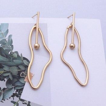 Irregular Water Drop Earrings For Women Hollow Geometric Gold Color Metal Earrings Female Unique Wedding Party Jewelry
