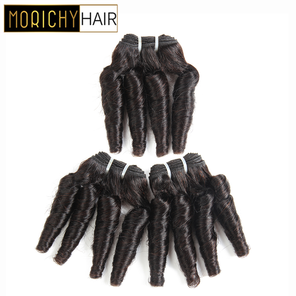 Morichy Hair Bouncy Curly Bundles Brazilian Short-cut Weft Double Drawn Pre-colored Non-Remy Human Hair Natural Black For Women
