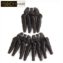 Morichy Hair Bouncy Curly Bundles Brazilian Short-cut Weft Double Drawn Pre-colored Non-Remy Human Hair Natural Black for Women(China)