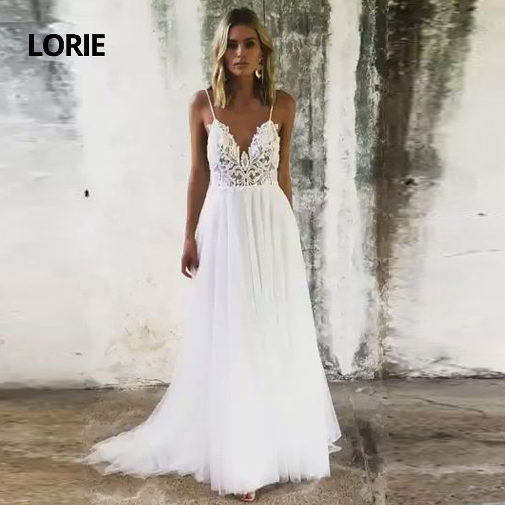 LORIE Spaghetti Straps Boho A-line Soft Tulle With Lace Appliqued Wedding Dresses 2020 Sexy Backless V-Neck Beach Bridal Gown