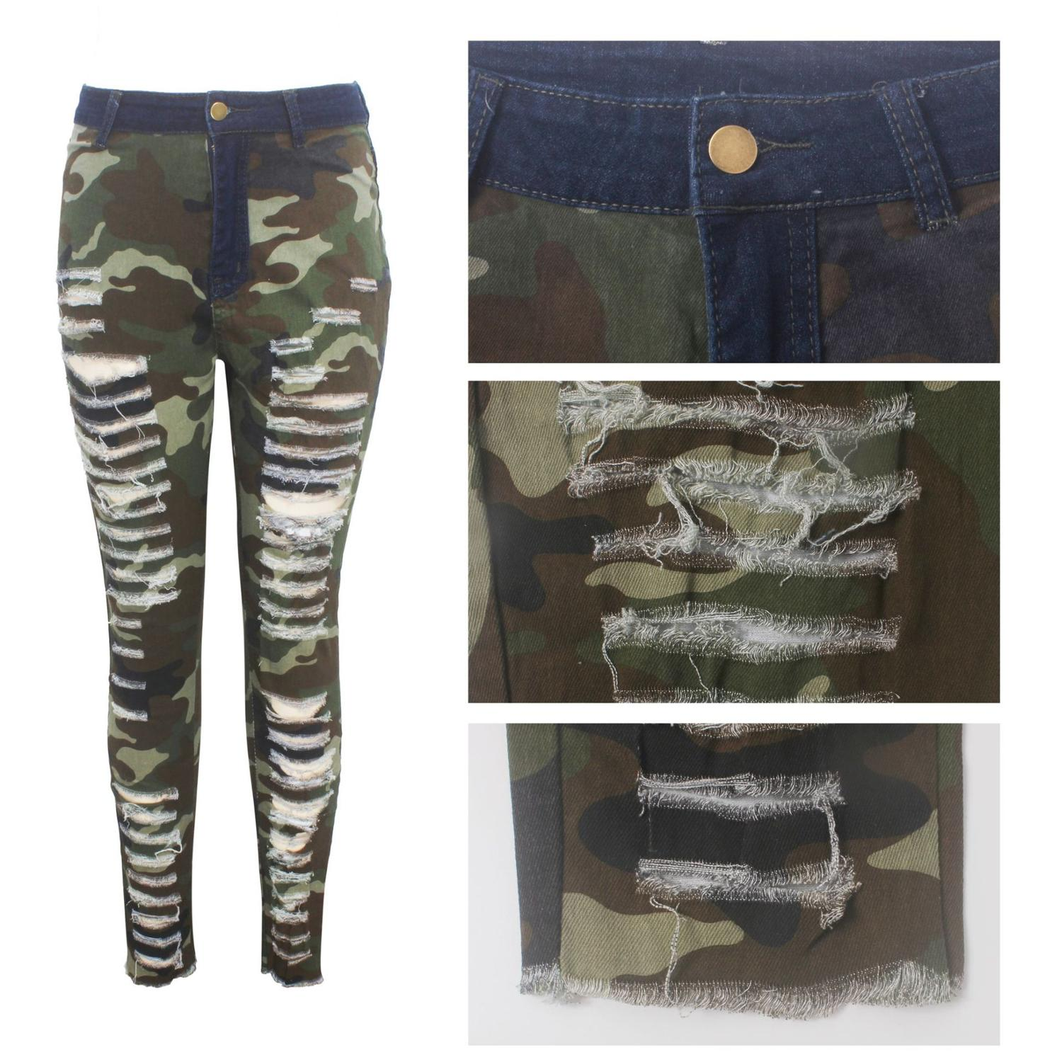 2019 New Autumn Winter Female Denim Pants Women Skinny Hole Spliced Camouflage Print Jeans Sexy pencil Bandage Trousers HSF2096 4
