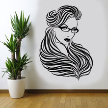 Hot Sexy Beautiful Girl Woman In Glasses Wall Decals Vinyl Home Decoration Hair Barber Shop Sticker Beauty Salon Mural A379