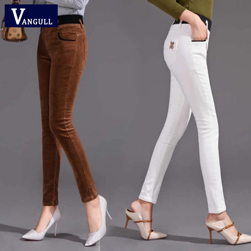 Vangull Corduroy Pants Women Stretch Female Loose High Waist Pants Corduroy Trousers  Cotton Women's Pantautumn And Winter