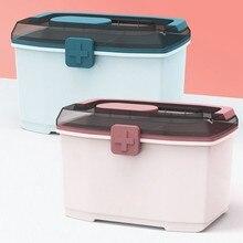 Kit de premiers soins Portable, boîte à médicaments en plastique épais à Double couche, Kit à domicile, boîte à médicaments