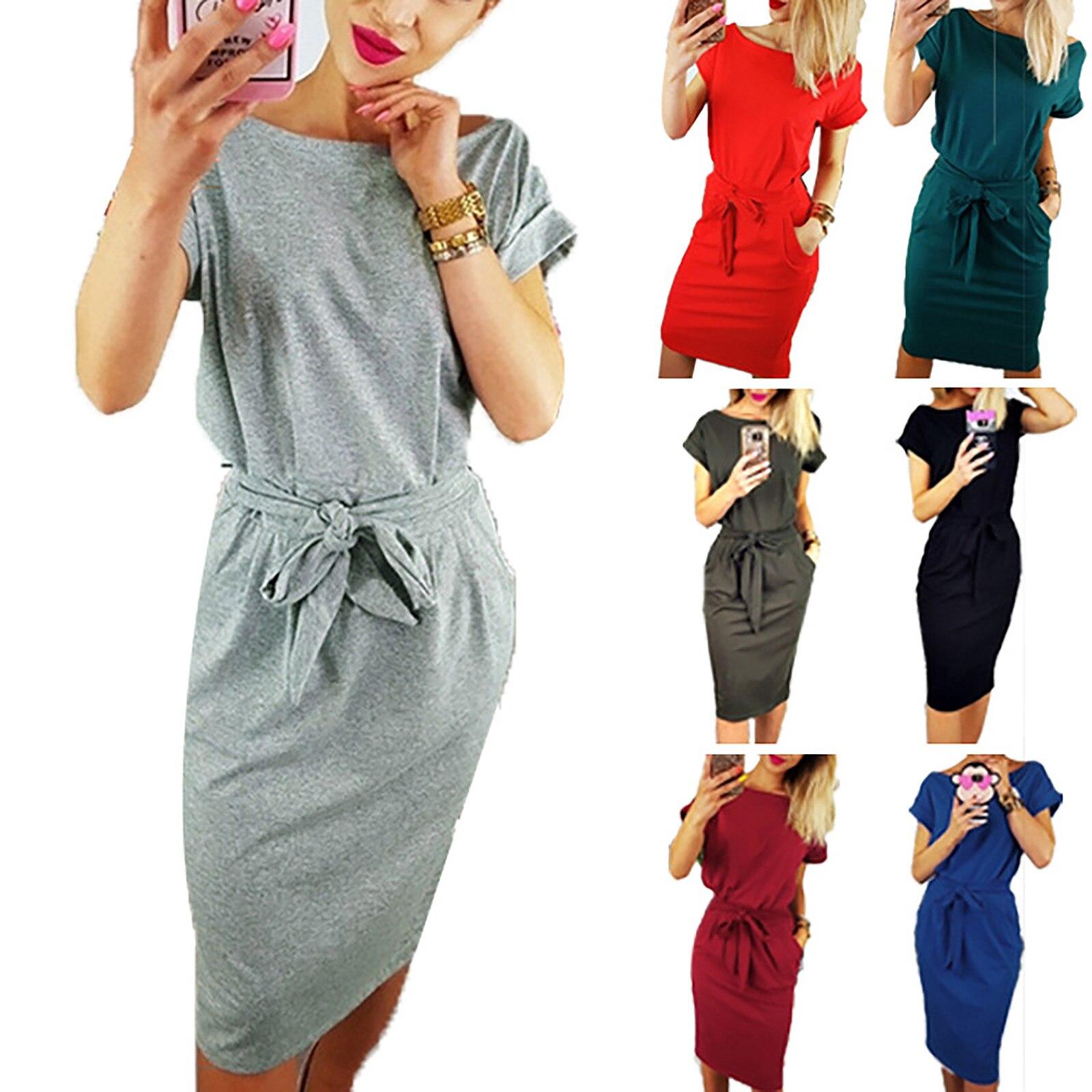 Casual Comfortable Dress Womens Casual Pocket Summer Ladies Short Sleeve Evening Party Dress Платья Для Женщин